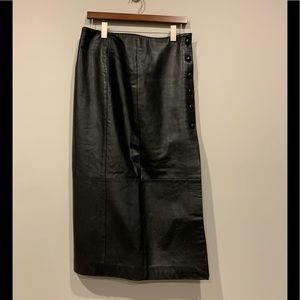Vintage Oscar Leopold Genuine Leather Skirt